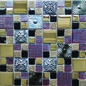 Gạch trang trí Mosaic Kim Loại - Đá - Thủy Tinh 48GPL07-1