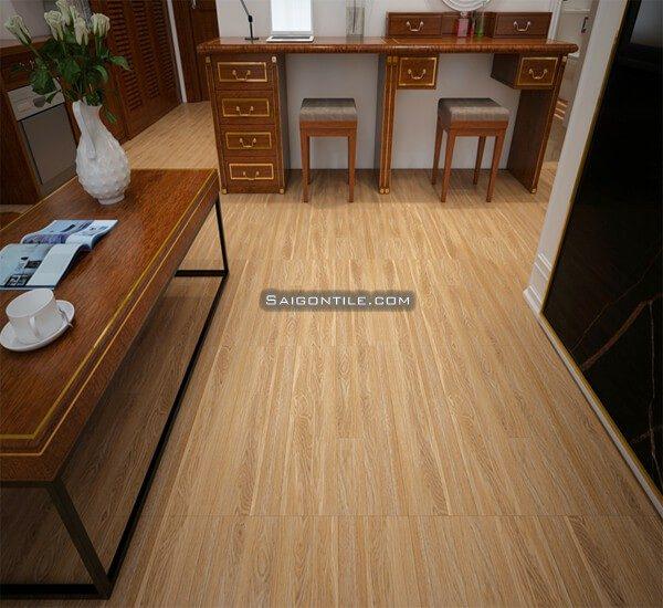 Gạch lát nền giả gỗ Đồng Tâm men mờ 60x60 6060WOOD001 xương đá