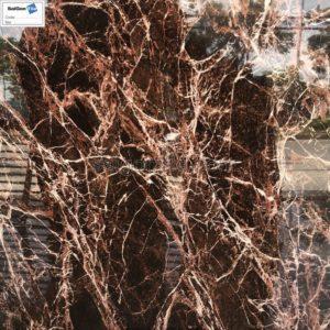 Gạch nền 3D đá marble rainforest nâu đỏ 80x80 siêu bóng DBY88660