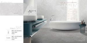 Phối cảnh Gạch lát nền 300x600 Eurotile porcelain terrazzo Sa Thạch SAT G01