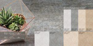 Phối cảnh Gạch lát nền 600x600 Eurotile vân vải cement Đan Vi DAV H02