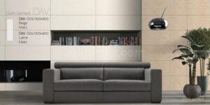 Phối cảnh Gạch lát nền 300x900 Eurotile Đan Vi vân vải màu nâu DAV D04